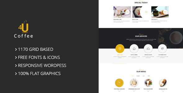 4uCoffee – One Page PSD Template